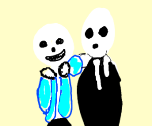 Sans puts his arm 'round Gaster. Both r happy