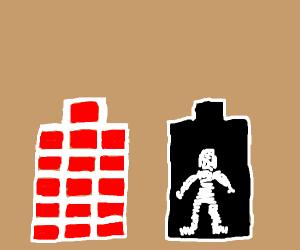 Mummy in a coffin of bricks