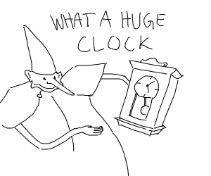 Skidaddle wizard is amazed by huge clock