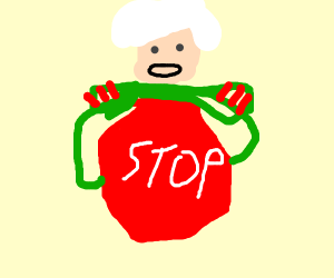 General eating a Stop Sign