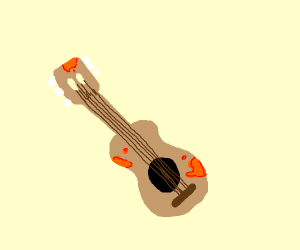 A guitar with orange gunk on it