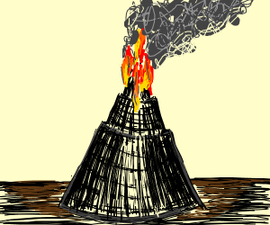 a tower on fire