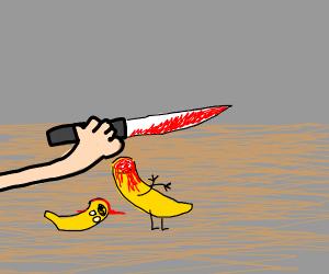 banana being sliced alive