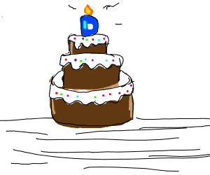 Drawception D as a candle on a birthday cake