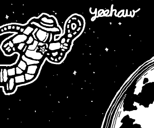 space cowboy floating in space