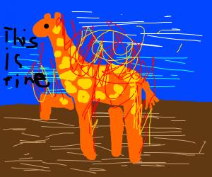 giraffe on fire