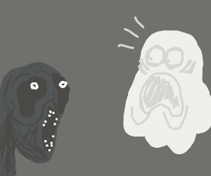 Ghost screaming at the sight of ghouls