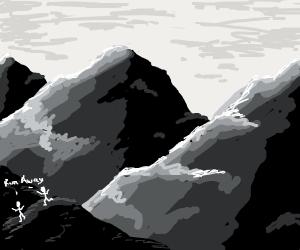 Men run from mountains