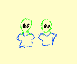 Two green aliens in blue clothes