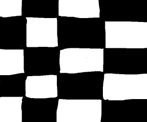 black background with white checker pattern
