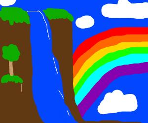 Waterfall with a Rainbow.