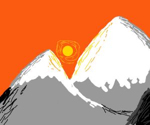A snowcapped mountain
