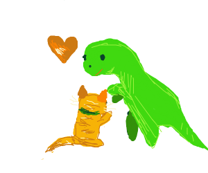 A cat and a dinosaur hugging