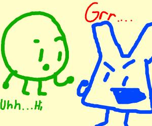 circle talking to a murderous blue rabbit