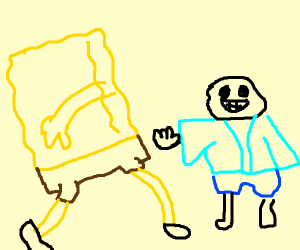 Epic anime battle between Sans and Spongebob