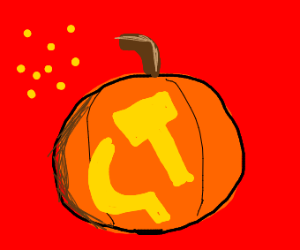 Pumpkin with hammer and sickle carved