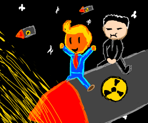trump and kim ride missles into the sun