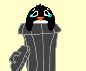 penguin in trash