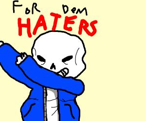 Sasn dabbing the haters away