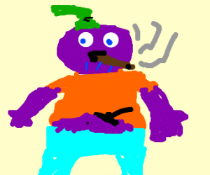 Thanos in Goofie's clothes pipe smoking