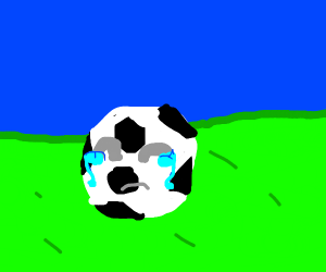 a crying (american) soccer ball