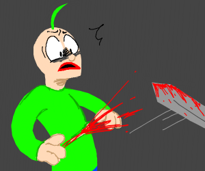 Baldy with green hair gets sliced by sword