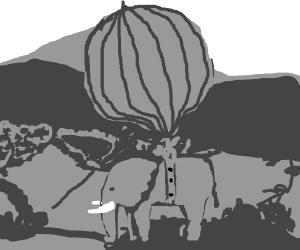 elephant in hot air balloon