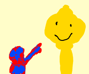Spider-Man pointing at legos super long neck