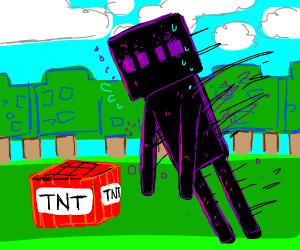 Enderman falling on a TNT block