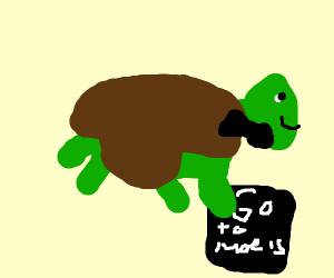 turtle with bow tie holds a sign