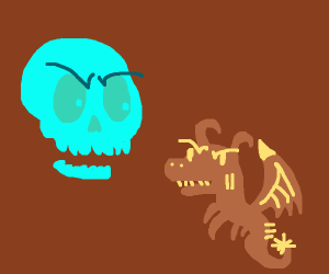 neon skull vs dragon