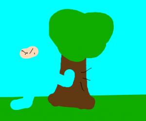 Ninja kicking a tree