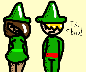 Two bored elves a girl and a boi