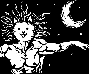 Cat-God gazes upon the moon
