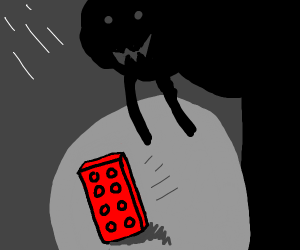 Lego speed walks away from shadow monster