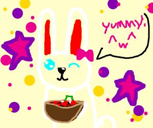 Rabbit eating Cherries