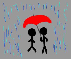 Couple share umbrella