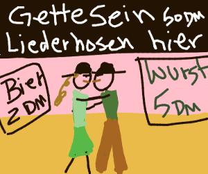 Hat-wearing lovers kiss in Germany