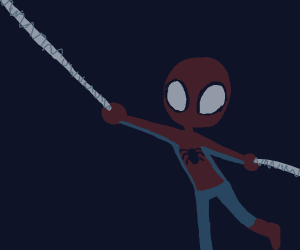 Spiderman on a swing in the dark