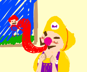 wario sensually looking at mario art