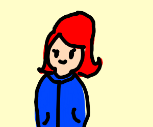 Woman with red hair in a blue cloak