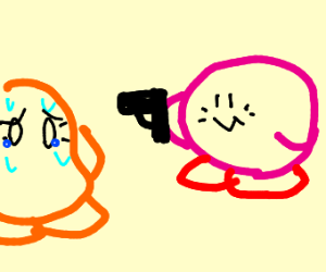 Kirby points a gun at waddle dee