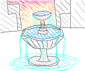 Overflowing fountain