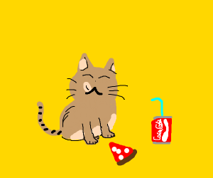 Cool cat eats pizza and drinks CocaCola