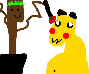 baby groot drew pikachu