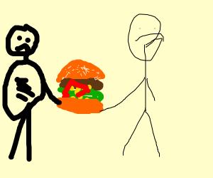 give me that burger, burglar