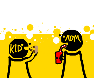Child eats pizza while mom drinks