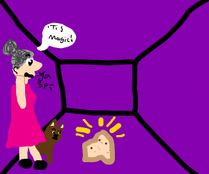 Cat and lady find magic bread