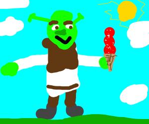 Shrek with nice red ice cream