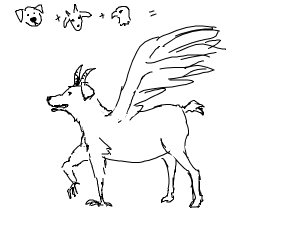 A dog half eagle half goat
